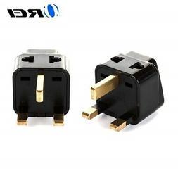 OREI 2 in 1 USA to UK/Hong Kong Adapter Plug  - 2 Pack, Blac