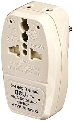OREI 3 in 1 Israel Travel Adapter Plug with USB and Surge Pr