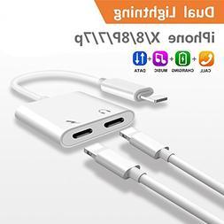 2-in-1 Lightning Splitter Adapter for iPhone 7 / 8 / X / 7 p