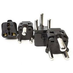 OREI 2 in 1 USA to South Africa Adapter Plug  - 4 Pack, Blac