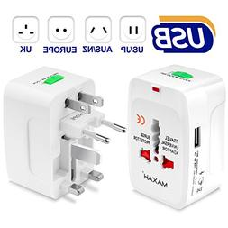 MAXAH Universal Travel Plug Adapter, All in One Worldwide Un