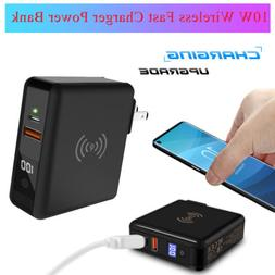 10W Wireless Fast Charger Quick Charging Power Bank 18W USB