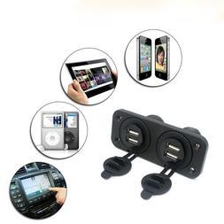 12V Car Boat Accessory Socket Panel 2/4 USB Charger Port Pow