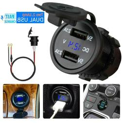 12V Car Cigarette Lighter Socket Dual 2.1A USB Port Charger