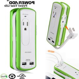 Poweradd 2 Outlets Dual USB Ports Power Strip Safety Chargin