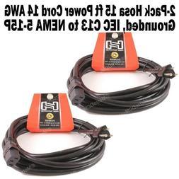 2-Pack Hosa 15 FT Power Cord IEC C13 to NEMA 5-15P for C14 i