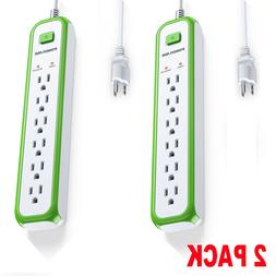 2 pack Poweradd 6 Outlet Power Strip Wall Charger Surge Prot