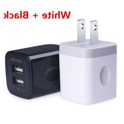 Ailkin 2 Pcs 2.1A Dual Port USB Cube Power Adapter Wall Char