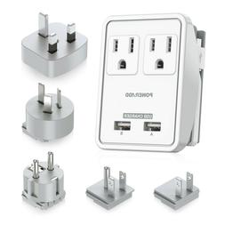 Poweradd 2-Outlet Surge Protector Power Strip with 2 USB Cha