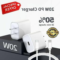 20W Fast Charger USB-C Type-C Power Adapter Cable Premium Fo