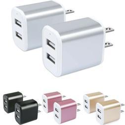 2Pcs 2.1A Dual Port Wall Charger Phone Adapter Power Plug Fa