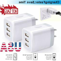 2Pcs Travel Wall Charger 3 Port Power Adapter USB Charger Fo