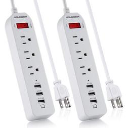 2x Poweradd 3 Outlet Power Strip Surge Protector with 3 USB