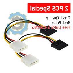 2X New IDE/Molex 4-Pin Male To Serial ATA SATA 15-Pin Female