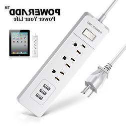 Poweradd 3 AC Outlets 3 Smart USB Ports Wall Power Strip Tra