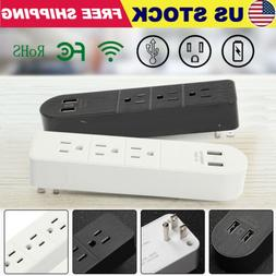 3 Outlet Surge Protector Plug Extender Wall Adapter w/ 2 USB