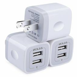 3-Pack  5V/2.1AMP 2-Port USB Wall Charger Home Travel Plug P