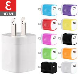 3-PACK USB Wall Charger AC Power Adapter US Plug FOR iPhone