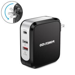 3 Port QC3.0 USB Wall Charger AC Power Adapter with Type-C O