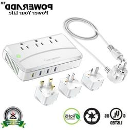 5FT 4 USB 3 Outlet Power Strip Surge Protector Universal Wit