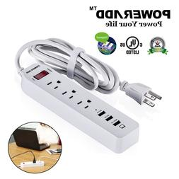 Poweradd 3 Outlets Power Strip With 3 USB Ports Lightningpro