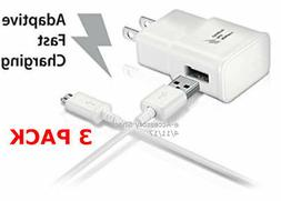 3x 10FT Micro USB Cables+3x Adaptive Fast Charge Wall Adapte