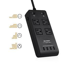 Poweradd 4-Outlet 3500J Universal Surge Protector Internatio