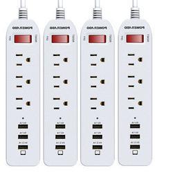 4 Pack 3 Outlet 3 USB Port Power Socket Surge Protector Stri