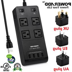 Poweradd 4 Outlet Power Strip Surge Protector 4 USB Charger