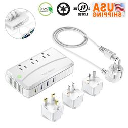 Poweradd 4 USB Universal Travel Adapter Plug Dual Voltage Co