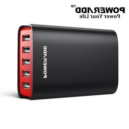 Poweradd 40W/10A 5-Port USB Charger Fast Charge 3.0 Transfor
