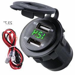 5V 4.2A Dual 2USB Charger Socket Adapter Power Outlet 12V 24