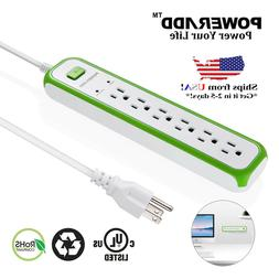 Poweradd  6 Outlet Power Strip Surge Protector Safety Lightn