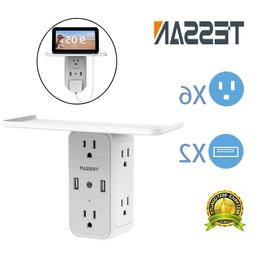 6 Outlets Surge Protector Power Strip With 2 USB Charger Por
