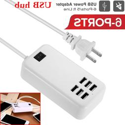 6 Port USB Hub Fast Wall Charger Station Multi-Function Desk