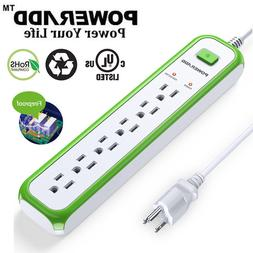Poweradd 6 Outlet Power Strip Surge Protector 5ft Cord Light