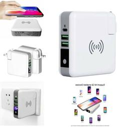 6700mah Power Bank Type-C Dual USB Wireless Charger AC Wall