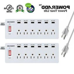 Poweradd 2x 6-Port Outlet Power Strip Surge Protector with 6