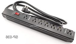 CablesOnline, Power Strip with 5 Horizontal + 2 Adapter Outl