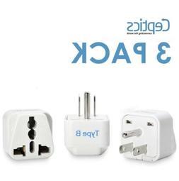 Ceptics USA, Canada Travel Plug Adapter  - 3 Pack