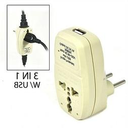OREI 3 in 1 Continental Europe Travel Adapter Plug with USB