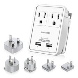 POWERADD Travel Adapter Kits - 3.4A USB with AC Outlets + P