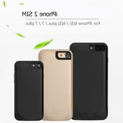 Battery Case Charger Dual SIM Standby Adapter For iPhone 6 6