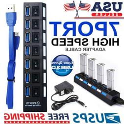 Black 7 Port USB 3.0 Hub On/Off Switches AC Power Adapter Ca