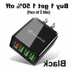Black US 4 Port Fast Quick Charge QC 3.0 USB Hub Wall Charge