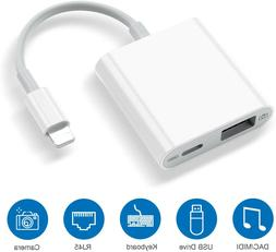 Camera to USB Adapter OTG Cable Power-in Port for iPhone 11