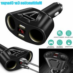 Car LCD Cigarette Lighter Socket Splitter Dual USB Charger P