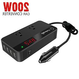 200W Car Power Inverter DC 12V to AC 110V Converter with Sma