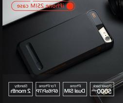 Dual SIM Dual Standby Phone Case Adapter+5000mAh Power Bank