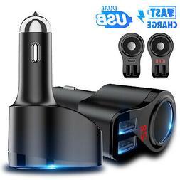 Dual USB Car LCD Cigarette Lighter Socket Splitter Charger P
